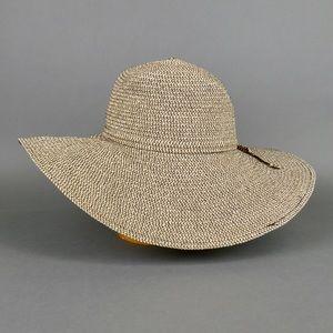 Extra Wide-Brim Beach Sun Hat Black and Tan